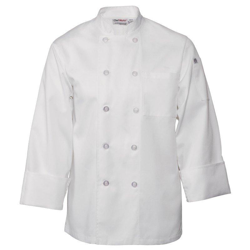 Koksbuis Chef Works, Le Mans, lange mouw, wit, poly-ktn, unisex, dubbele sluiting, klassieke pasvorm