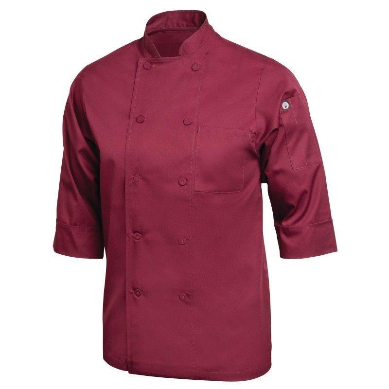 Koksbuis Chef Works, Lite, 3-4 mouw, bordeaux, poly-ktn, unisex, dubbele sluiting, stoffen knopen, 1