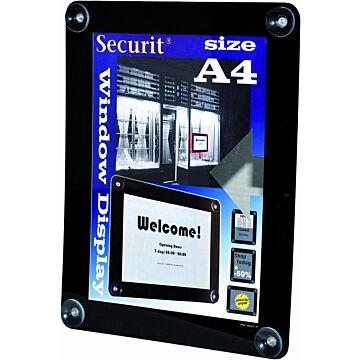 Raamdisplay posterframe Securit, A4, Zwart
