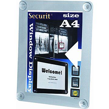 Raamdisplay posterframe Securit, A4, Grijs