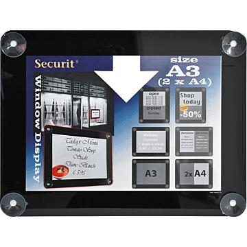 Raamdisplay posterframe Securit, A3, Zwart