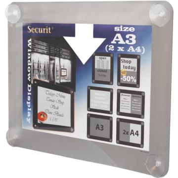 Raamdisplay posterframe Securit, A3, Grijs