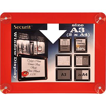 Raamdisplay posterframe Securit, A3, Rood