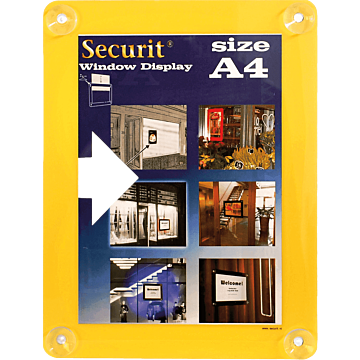 Raamdisplay posterframe Securit, A4, Geel