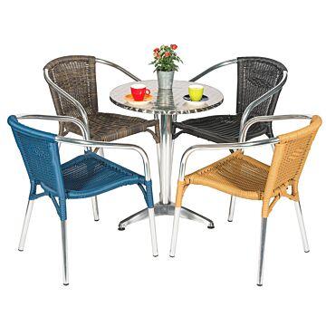 Terrasset Ibiza, 4 stoelen, honey, met RVS tafel