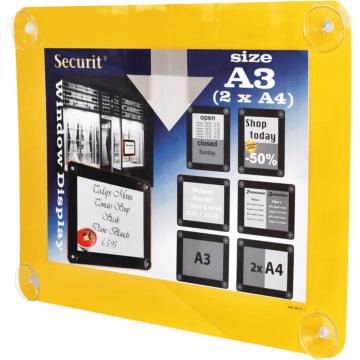 Raamdisplay posterframe Securit, A3, Geel