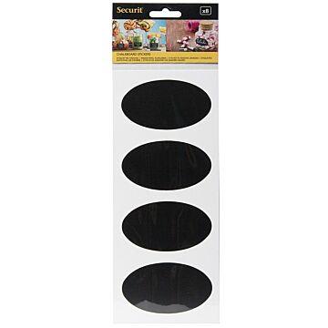 Krijtbord sticker Securit, ovaal, Zwart, 8 stuks