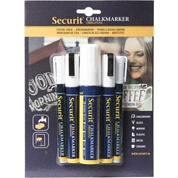 Krijtstiften Securit Wit, 3 diktes, 5 stiften