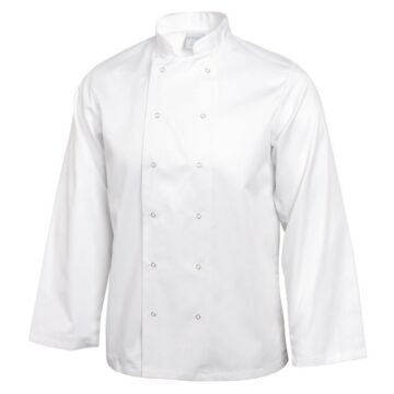Koksbuis Whites Chefs, Vegas, lange mouw, wit, poly/ktn, unisex, RVS drukknopen, dubbele sluiting, 235 g/m2