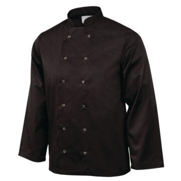 Koksbuis Whites Chefs, Vegas, lange mouw, zwart, poly/ktn, unisex, dubbele sluiting, basic, 235 g/m2