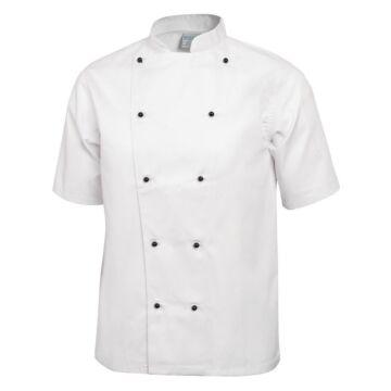 Koksbuis Whites Chefs, Chicago, korte mouw, wit, poly/ktn, unisex, dubbele sluiting, klassieke pasvorm, 235 g/m2