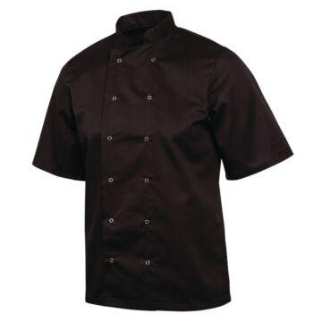 Koksbuis Whites Chefs, Vegas, korte mouw, zwart, poly/ktn, unisex, dubbele sluiting, basic, 235 g/m2