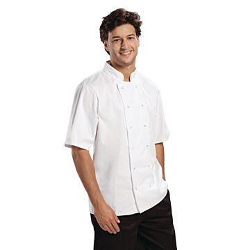 Koksbuis Whites Chefs, Boston, korte mouw, wit, poly/ktn, unisex, RVS drukknopen, basic, 190 g/m2