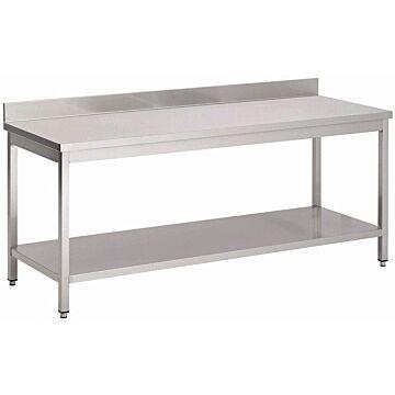 RVS Werktafel Gastro M, onderblad, achteropstand, 150(b)x70(d)x85(h)cm