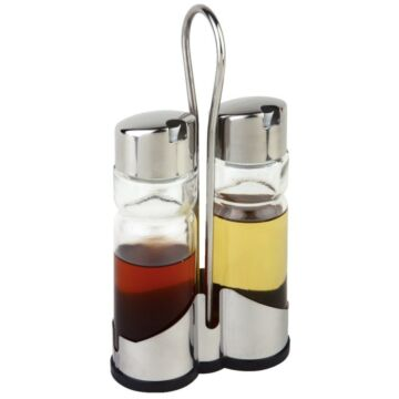 Tafelset olie- en azijnflesjes met houder