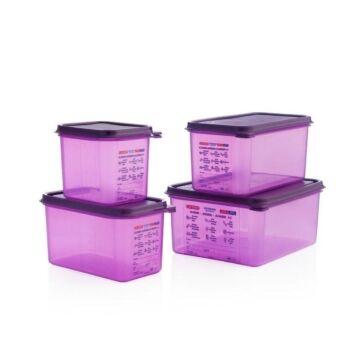 Voedselbak Araven, GN1/6, 2,6L, siliconen allergenen, incl deksel