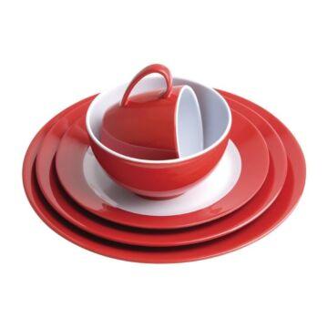 Kristallon Gala melamine bord met rode rand 23cm, 6 stuks