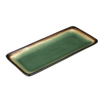 Olympia Nomi rechthoekige tapasborden groen-zwart 24,5 x 12cm