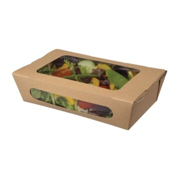 Colpac kraft saladebakken met venster en insteeksluiting 1L (200 stuks)