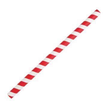 Fiesta Green rood/wit gestreepte papieren smoothierietjes 21cm