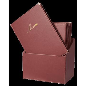 Menubox Securit A4, Classic, Bordeaux rood, incl 20 menukaarten