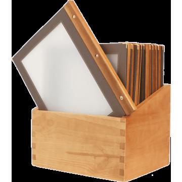 Menubox Securit A4, Woodrange incl 20 menukaarten, keuze uit 6 kleuren