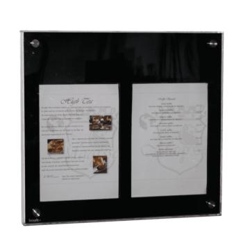 Securit Menukast Basic Zwart, 2x A4, incl. tafelstandaard en muurverhanging