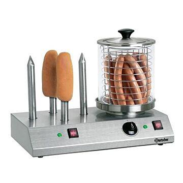 Hotdog apparaat Bartscher, RVS, 4 verwarmingsstaven, 230V/960W