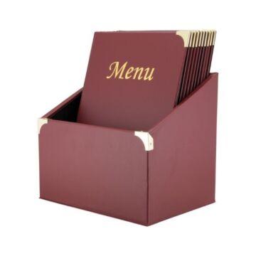 Menubox Securit, Basic Range A4 wijnrood, inclusief 10 menukaarten