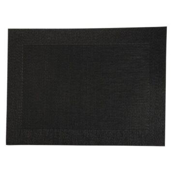 Placemats geweven Olympia, PVC, zwart, 30(H)x30cm, 4 stuks