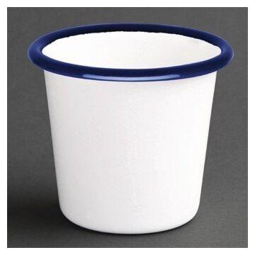 Olympia Emaille sauspotje wit en blauw 11,4cl, 6 stuks