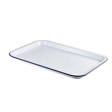 Emaille foodplateau wit/blauw 30,5 x 23,5 cm, doos van 4 stuks