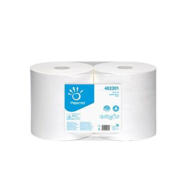 Poetsrol Papernet industrie 3lgs recycled blauw perfo, 1x1 rollen