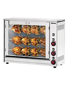 Kippengrill Bartscher, voor 12 kippen, 3 spiesen , 88(b)x71(h)x43(d)cm, 400V/5kW