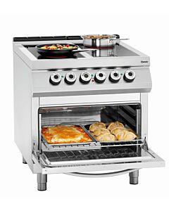 Fornuis keramisch Bartscher, 4 branders met elektrische oven GN2/1, 80(b)x90/95(h)x90(d)cm, 400V/21,6kW