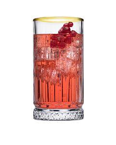 Elysia long drink glas gouden rand 445 ml, doos van 4 stuks