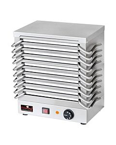 Platen rechaud rvs 10 platen, H44 x B24,5 x L37, 230V / 1200W
