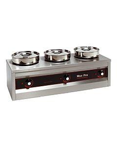 Bain Marie Foodwarmer Maxpro, 3 potten, H29 x B26 x L76, 230V / 495W