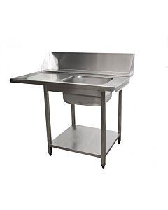 Saro aanvoertafel voor vaatwasser rechts, 1 bak, 120(B)x70(D)x90(H)cm