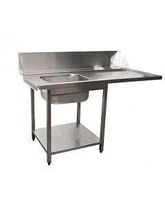 Saro aanvoertafel voor vaatwasser links, 1 bak, 160(B)x70(D)x90(H)cm