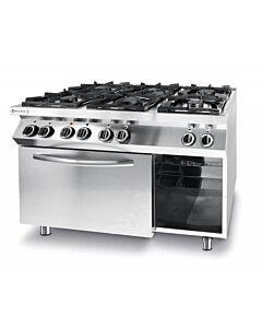 Gasfornuis Kitchen Line, 6 Pits, 3 x 3, 5 kW + 3 x 6 kW, 3 kW hetelucht Oven, 1200x700x(H)900mm Hendi