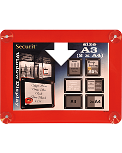 Raamdisplay posterframe Securit, A3, Rood