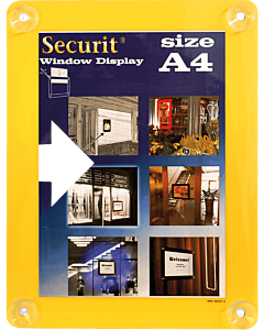 Raamdisplay posterframe Securit, A4, Geel