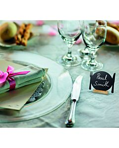Tafelkrijtbordjes Securit, mini, 3x bord&bestek, incl. 1 krijtstift dun wit