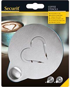 Koffie sjabloon, hartvormig, 2 stuks verpakking