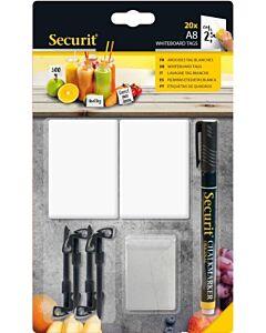 Prijs tags, Securit, A8 Wit, incl. krijtstift (20 krijtbordjes)