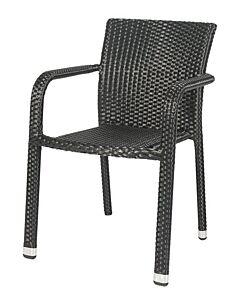 Horeca terrasstoel rotan Valencia, met open armleuning II, 2 kleuren. Vanaf 8 stuks