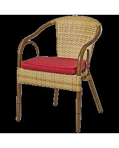 Horeca terrasstoel rotan Granada, ronde rugleuning, met bamboe look. Vanaf 8 stuks
