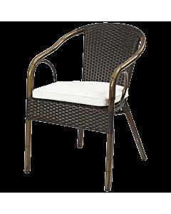 Horeca terrasstoel rotan Bilbao, ronde rugleuning, met bamboe look. Vanaf 8 stuks