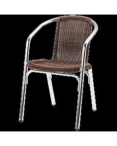 Horeca terrasstoel Nice, riet, met armleuning. Vanaf 10 stuks